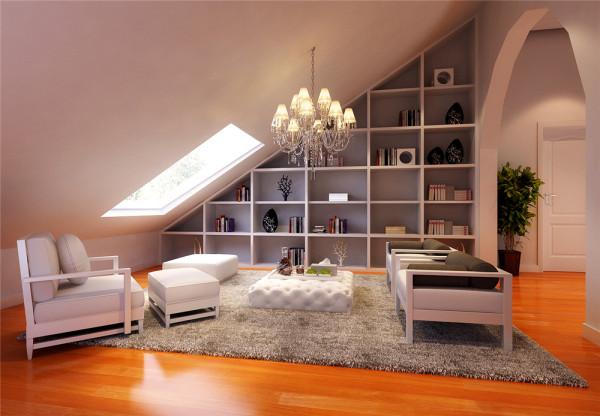 沉稳,大花壁纸的点缀,石膏板线的结合使简欧的韵味十足,结合白色的家具,给人一种舒适,简洁的视觉效果。