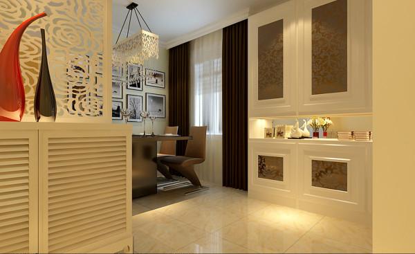 门厅和餐厅的连贯的造型,体现出了整体有表现简单地方又有不简单的地方 ,门厅加出来的一面墙和餐厅的装饰画形成一个整体,协调统一!同时拉近时尚。