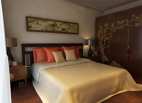 设计理念:卧室整个色调为黄色系,安静,沉稳。床头背景用画简单的做了一下,在感觉上拉开了空间的进深感,同时也是对极简中国风的再次强调。好好的睡一觉吧,这个美好的空间能让人卸掉一天的疲惫。