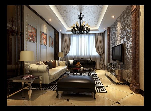 客厅的深色护墙板墙面发出的是高贵沉稳的简欧味道,时尚的皮质沙发与电视背景墙大理石柱的呼应,让整个客厅营造出时尚、高贵、轻松、愉悦的视觉感空间,营造出一个雍容华贵的时尚简欧家居设计。
