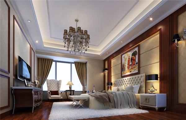 米黄色的墙面造型配合深咖色的欧式家具,尽显欧式的华贵和雍容,既保留了古典欧式的典雅与豪华,又更适应现代生活的休闲与舒适。