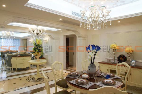 欧式风格的家居选用现代感强烈的欧式餐桌,特点是简单、抽象、明快、现代感强,组合家具的颜色选用白色或流行色,就仿佛为主人编织了一个明快美丽的梦想。