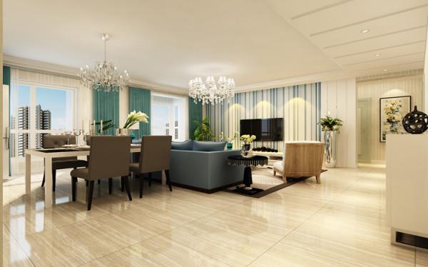 客厅以简约风格为主,以象牙白的主墙体配色搭配电视墙的浅蓝色壁纸,给整个卧室空间以简洁明亮的感受,后期窗帘和软装的搭配让整个空间呈现出舒适清爽的感受。