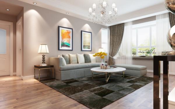 沙发背景后简洁的图案让整面墙更加的生动,再加上阳台上的绿色植物以及茶几的花束,使空间更具有自然感觉。