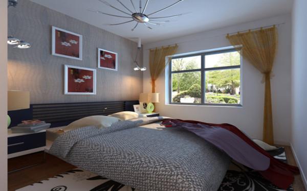 设计理念:卧室由于客户要求简单明快,不需要什么造型,所以我是就用了点壁纸,作为床头背景的修饰,让整个空间有层次感,主次分明。