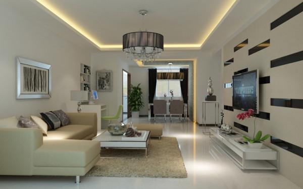 设计理念:客厅用石膏板吊顶做了一个回字形吊顶电视墙用石膏板的方条和水银镜面方条进行处理,让整个空间既现代又有空间感,感觉到整个的客厅比较丰富。这个空间亮点就是电视墙的处理