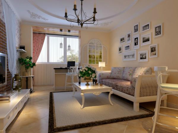 本案例为博朗园一室两厅户型,设计风格为田园风格。