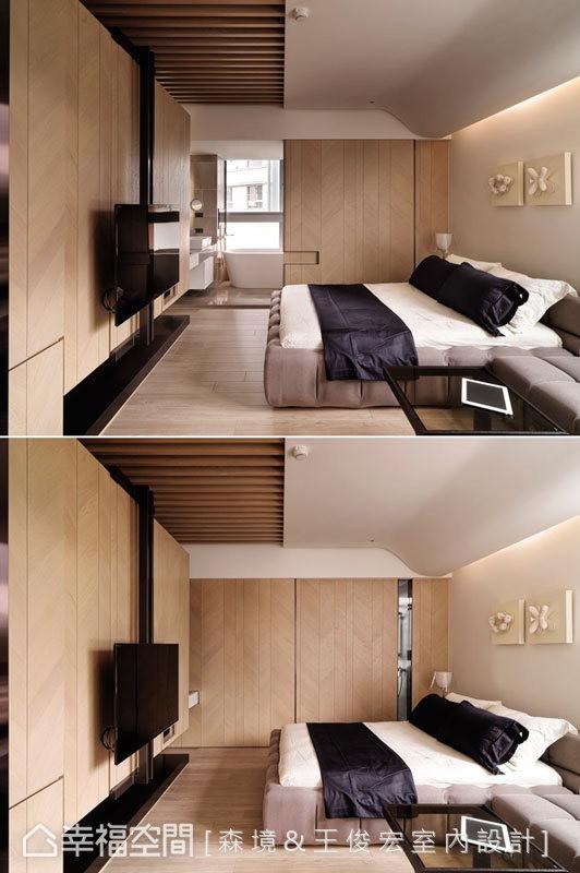 设计师充分展现形随机能的设计语汇,如卫浴拉门可双边开启,电视墙也能作为收纳与电器柜使用。