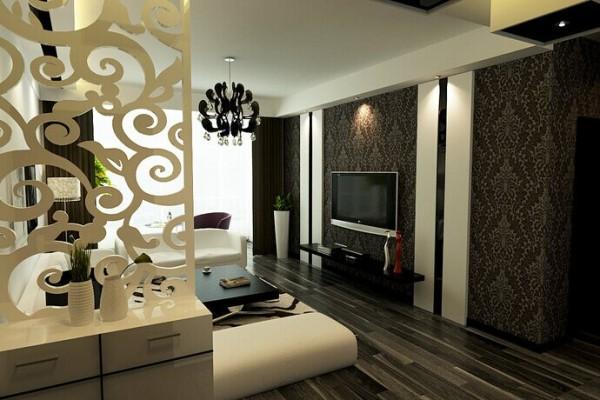 客厅的电视背景墙采用的是深色花纹壁纸和白色的石膏板相结合,时尚大气。