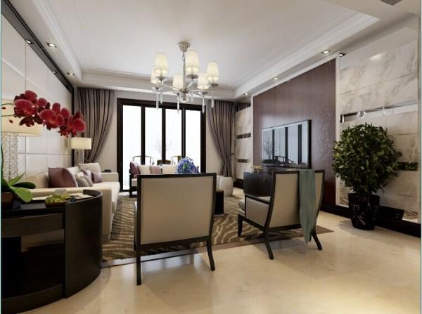 爵士白石材、条形银镜融合深卡色壁纸的电视背景是客厅不可或缺的点缀,是古今融合后的产物,彰显出高深久远的文化气息。