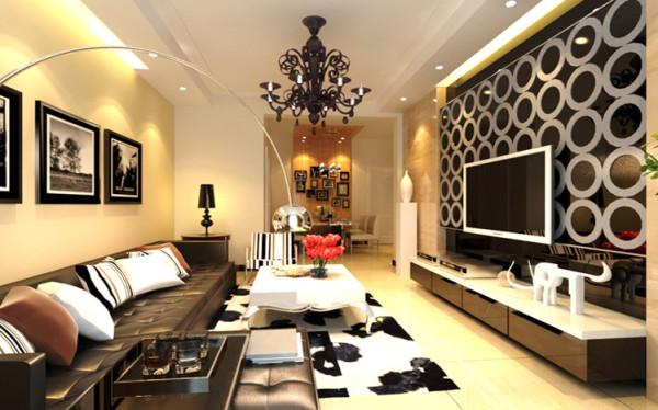 设计理念:客厅用石膏板吊顶做了一个石膏板吊顶电视墙用用的是黑色烤漆玻璃和石膏圈线进行处理,让整个空间既现代又有空间感,感觉到整个的客厅比较丰富。这个空间亮点就是电视墙的处理