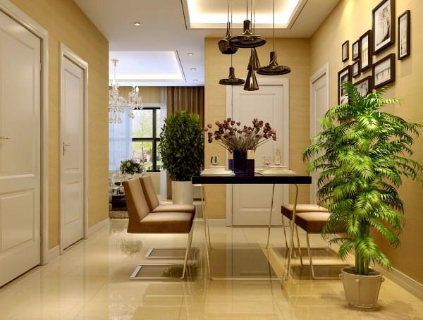餐厅做的是方形吊顶,加上现代感极强的灯具,搭配的恰到好处。餐桌上的鲜花,再加上绿植点缀其中,为业主营造了温馨浪漫的就餐环境。