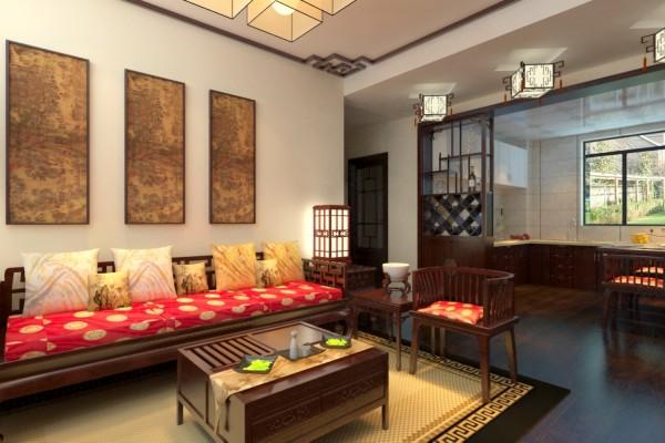 设计理念:客厅的电视墙运用了石材上墙和木线圈线以及石膏板吊顶的造型