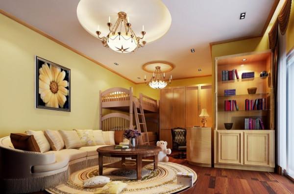 儿童房设计:以学习休闲娱乐一起的,空间的合理利,书架的摆放,让孩子更加喜爱