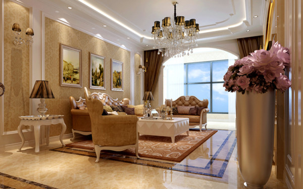 客厅沙发背景墙采用暖色系的壁纸做铺贴,后期搭配相应的壁画做装修,整个空间温馨而又简洁。