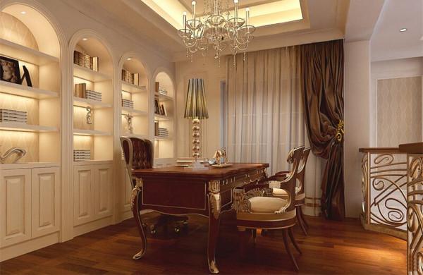 美式家具的陈旧韵味再次完美体现,温馨的书房给人安静的学习思考的空间。