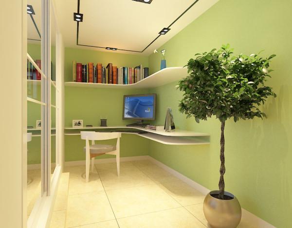 在书房的设计上,书房原本是一间卧室,但是由于较小所以改成了书房,并加上了一组书架,可以增加书房的实用性。