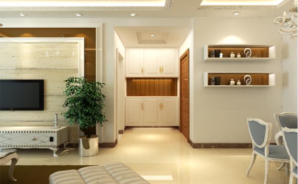 走廊是家中生活与迎客的第一印象,适当的装饰既点缀了房间,也不会显得太过空旷。灰镜放置在鞋柜的中间,配以灯光,使人感到温馨且视野明亮,空间的空置空间可以放置包,钥匙等出门常备物品。