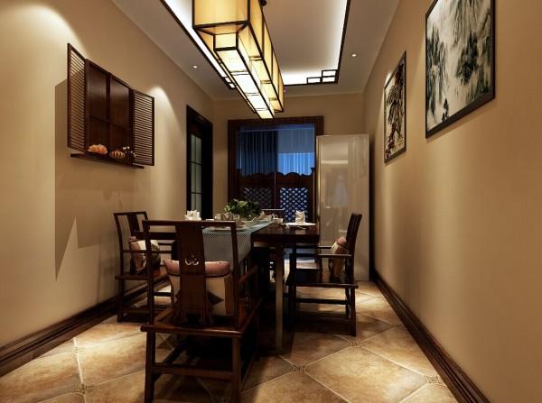 餐厅装修的特色之一就是,利用了假窗的设计,再加上两幅山水画的点缀,精致典雅。