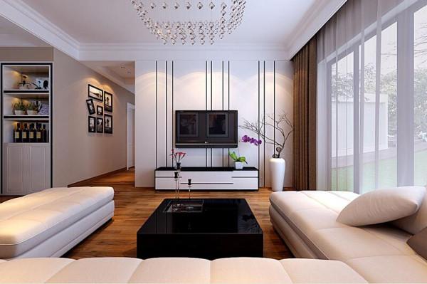 整体家中色调为经典黑白灰,电视背景墙更是融入其中色调,采用线条拉长整体电视背景墙区域空间感,简洁大方。