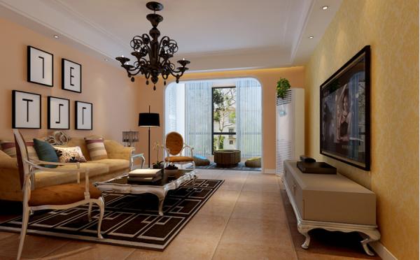 客厅则以中间的大吊灯为主灯,周围凹槽内藏粉色小灯管点缀,室内美观大方,渲染了室内的温馨环境。