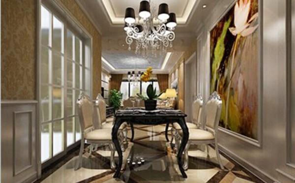 餐区处白混油造型中间配以色彩浓烈的壁画 营造出法式所独有的精致与感性