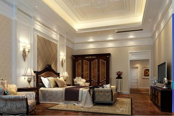 主卧整体以白色为主,搭配深色家具,大气且设计感突出,整个空间功能齐全,结构上也保持了整体一致性。