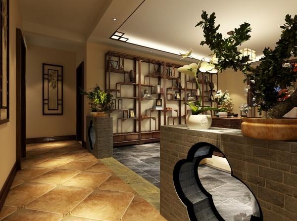 本案的走道与客厅之间用青砖隔断的设计,上面摆放一些花草,为室内增加了生机。