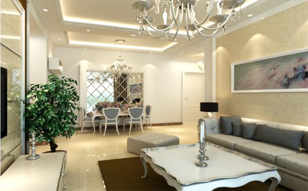 餐桌背景墙与沙发背景墙遥相呼应,结合起来有异曲同工之妙,采用菱形玻璃辅以石膏线条做造型,突出简欧风格主题的同时,增加了居室光线反射,无形中增大了空间延伸感。