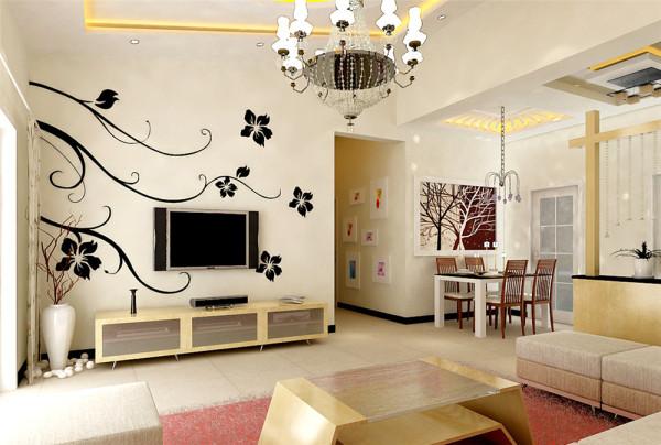 客厅依仗原有的空间与高度,不同层次的顶面造型,即做了空间的合理划分,又保证了原有空间的整体与流畅。