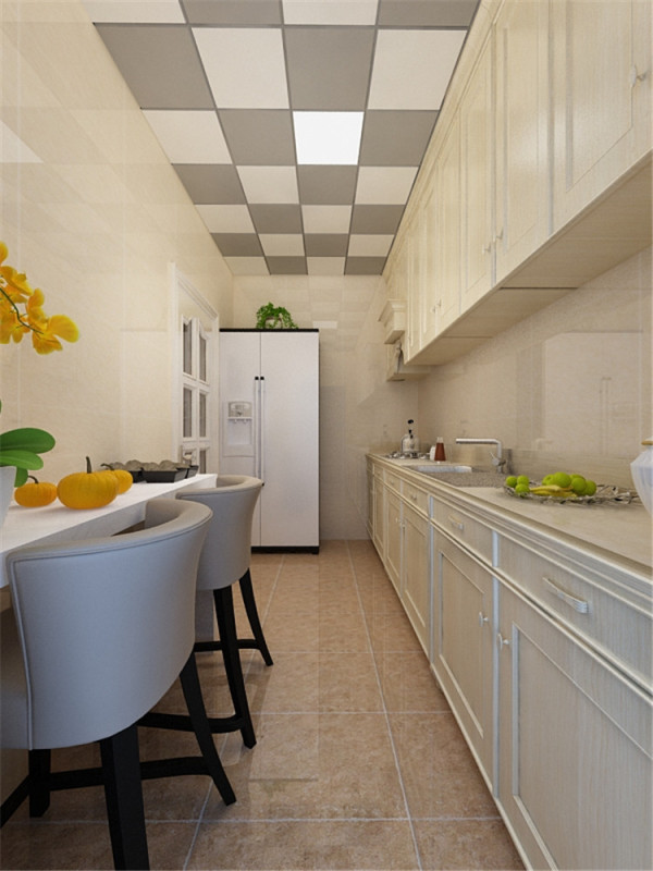 为整体户型较小,所以空间整体没有餐桌的位置,所以我把餐桌摆放在了厨房的位置,而厨房的另一侧是单面的橱柜设计。
