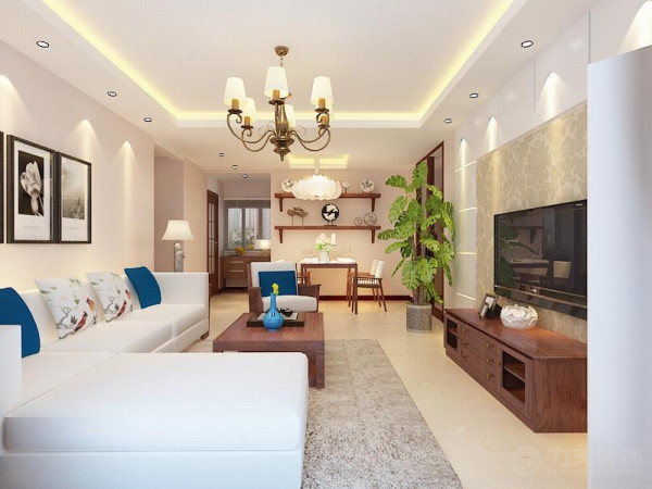 该户型瞰海品筑三室一厅一厨两卫120㎡,方正、明亮,适于设计。设计风格是新中式。