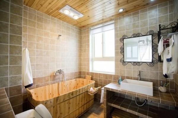 原木色的浴池,