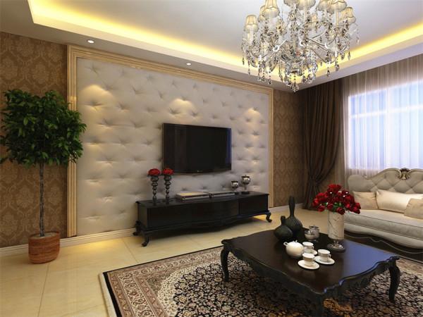 电视后面选择了软包的装饰,减少噪音的同时,丰富了整体的质感。