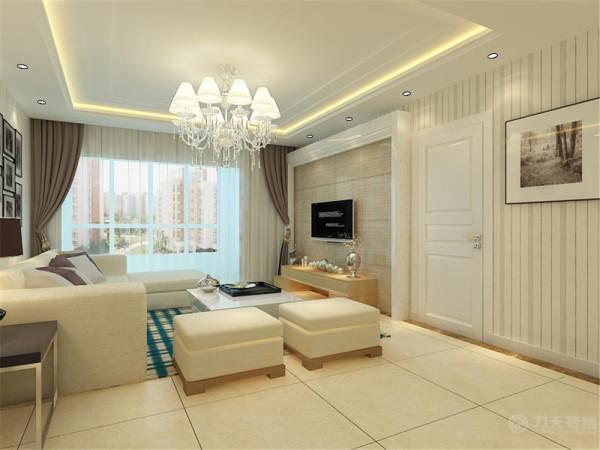 该户型宝镜檀香三室两厅一厨一卫117㎡,方正、宽敞、明亮,适于设计。设计风格是现代简约风格。