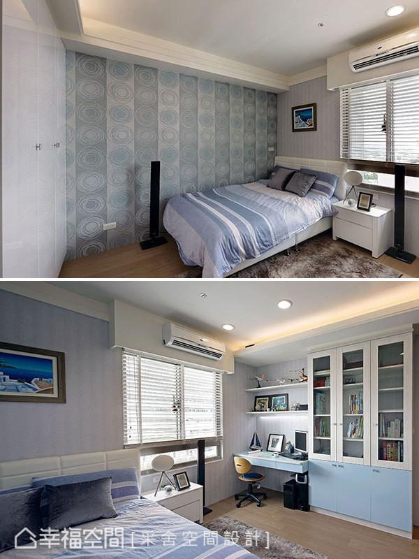 以清爽蓝色,营造出符合男孩个性的房间表情。