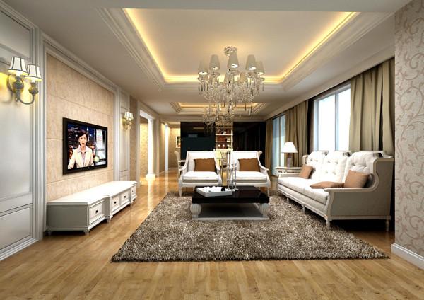 客厅电视背景墙的雪花白大理石与淡咖啡色壁纸搭配发出的是时尚,暖色调沙发与电视背景墙的呼应,让整个客厅营造出时尚、高贵、轻松、愉悦的视觉感空间。营造出一个朴实之中的时尚简欧家居设计。