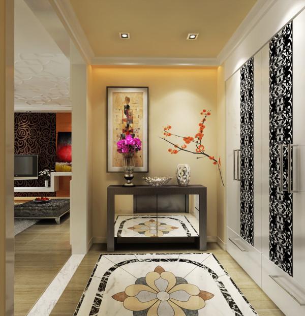 从原始结构上厨房和门厅处的空间比较局促,把厨房的墙体进行拆除,设计出入户门的鞋帽柜。