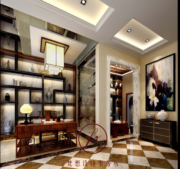 书房是平时男主人工作的场所,业主希望平时工作累的时候可以有个地方放松,在书房隔壁设计师设计了休闲区,休闲区与书房之间的墙面设计师采用荷花元素做装饰,寓意美好,舒心。