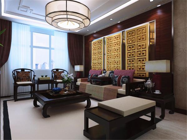 看,客厅采用回字形吊 顶顶的中间是石膏线拉缝的工艺造型。中间是中式特有的吊灯。沙发背景 墙是中式特有的雕文。配上中式的沙发桌椅,烘托出中式的氛围。影视墙 更是将中式的特点突出的淋漓尽致。