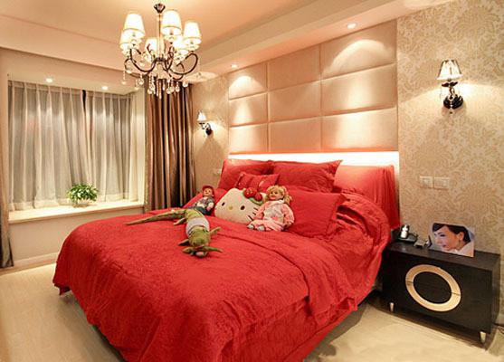 温馨的红色床单柔色壁纸很温馨
