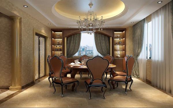 设计理念:餐厅罗马柱的运用,洛可可风格的餐桌椅子,豪华大气。设计理念:只有7平米的餐厅没有做太多喧闹的造型装饰,一套钢化玻璃的餐桌映衬客厅的电视墙,一款奶咖色的墙漆尽显餐厅的温馨