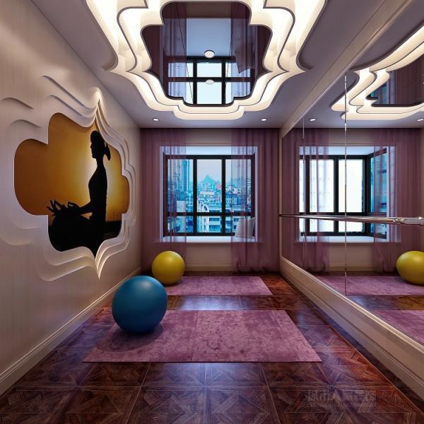 瑜伽室 瑜伽室明亮落地的形体镜,禅意浓浓的吊顶和墙面造型的上下呼应,紫色浪漫的纱帘,尽显女人柔情!