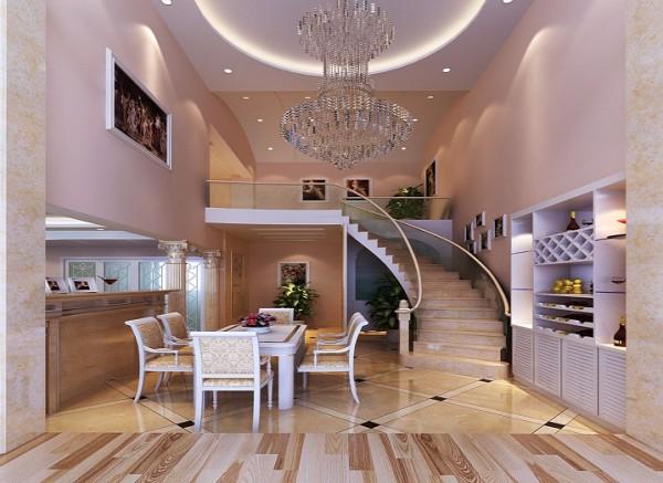 设计理念:餐厅与旋转楼梯之间的哑口处,设计师恰到好处的利用了哑口的一半设计成多宝阁的装饰柜。 亮点:米白色雕花隔断不仅增添了装饰效果而且很好的划分了空间。