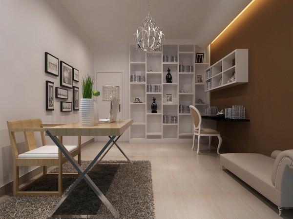 书房以白色为主1调,背景墙与整个书房的颜色空间行成一个对比。行简洁开豁舒适。安静的给屋主一个安静的书房。