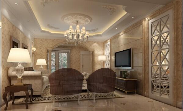 客厅的整屋都用米色的壁纸作为装饰,跟电视墙的色调融为一体。