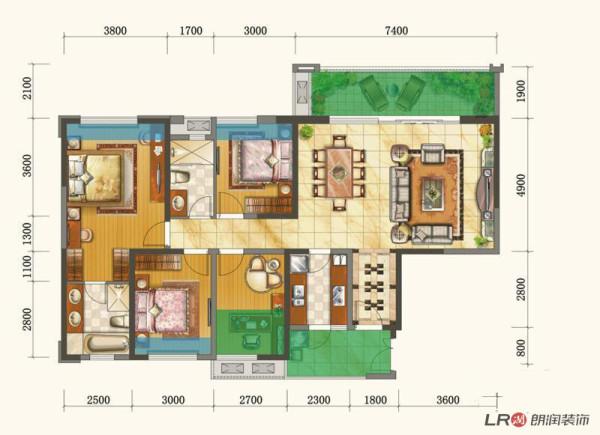 四室两厅两卫,E户型 147m2