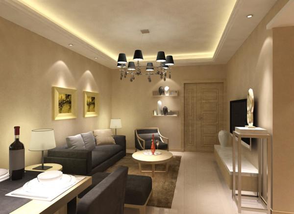 设计理念:复古的吊灯、简约的沙发、暖色调的墙面,简约中透露着华贵。 亮点:整体的设计配合灯光的渲染使得整个客厅简约而庄重。