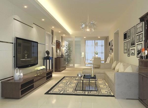 亮点:电视背景墙采用抛光砖上墙,是现在比较流行的做法,再加上色彩为米黄色的油漆(属暖色调),配上顶部照下来的灯光,整个电视背景墙把客厅提升起来。