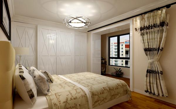 设计理念:卧室整体空间以奶咖色为主,柔和舒适。印象派画作的点缀,赋予了空间更多的梦幻。为了更多的利用空间原有空调房的位置也变成了收纳柜兼女主人的梳妆柜。